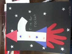 Little r rocket.  Handprint flames.star stickers.