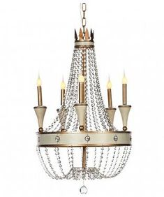 Beaux French Chandelier in ivory and gold with crystal beading. French Chandelier, Canopy, Light, Candelabra, Bulb, Chandelier, French Provincial Decor, Ceiling Lights