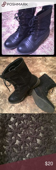 Just Fab lace up black boots w/ side lace & zipper EUC! Worn a handful of times! Zippers so no need for continual lacing. JustFab Shoes Lace Up Boots