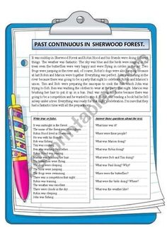 This is another reading comprehension dealing with the past continuous. The first exercise is a true or false one and the second one consists of answering some questions about the text. I hope you can find it interesting. Reading Comprehension Worksheets, Vocabulary Worksheets, Verbo Can, My Family Worksheet, Writing Checklist, English Exercises, English Words, Wh Questions, Sherwood Forest