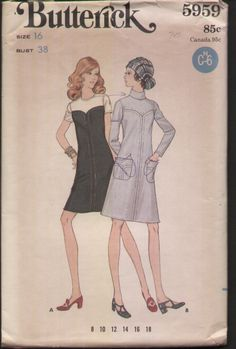 Butterick 5959 Vintage 1970s Semi Fitted A Line Dress Sewing Pattern B38