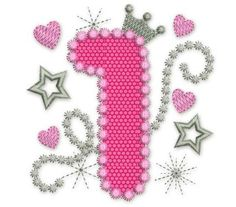 Happy Bithday Number 1 Pink Glamour for Girl Applique Embroidery Design HB001