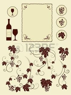 winery: Grape vines and winery object silhouettes. Vector illustration.