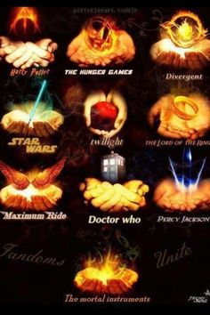 FANDOMS <3 I'm Harry potter, Percy Jackson, Hunger Games, Divergent, Star Wars, and Mortal Instruments.