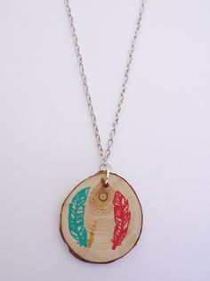Wooden Feather Necklace