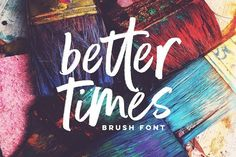 Ad: Better Times Brush Font by Sam Parrett on Introducing Better Times, a handmade brush font! This bold, free-flowing and confident brush font is designed to be easily customisable with Calligraphy Fonts, Script Fonts, Typography Fonts, Hand Lettering, Lettering Design, Writing Fonts, Letter Writing, Brush Lettering, Sans Serif