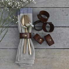 Leather napkin ring set accessories 2019 New arrivals.