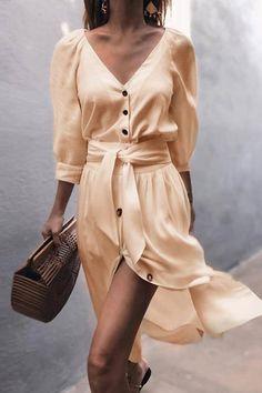 Chic Love Princess Button Ties-Up Midi Dress - 4 Colors – Beetsweeti Nyári  Viseletek 022b8b5dee