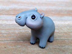 Tiny hippo Handmade miniature polymer clay by AnimalitoClay