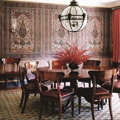 fabric covered walls in this Michael S. Smith California dining room