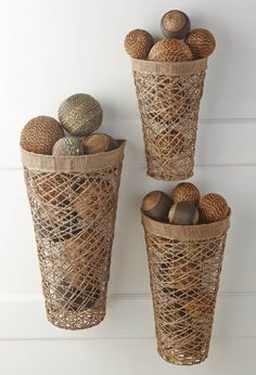 "The K&K Interiors Set of 6 Twine Wall Nesting Baskets comes in graduating sizes of 24"" in height x 14"" in width x 8"" in diameter. #basket #outdoor #decor"
