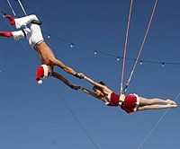 Even Santa and Mrs. Claus enjoy some trapezing on the Pier.