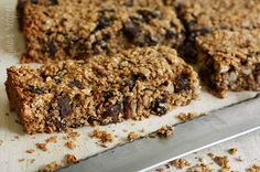 Chewy Granola Bars with Pecans Raisins and Chocolate