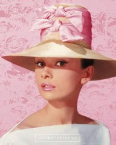 Audrey-Hepburn-Pink-hat | More Audrey Hepburn lusciousness at http://mylusciouslife.com/photo-galleries/entertainment-books-movies-tv-music-arts-and-culture/