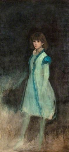 The Blue Girl: Connie Gilchrist / James Abbott McNeill Whistler / c. 1879 / oil on canvas