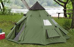 Guide Gear 10×10′ Teepee Tent #tent #camping #outdoor Do not be turned away by the traditional look of this tent. It has been constructed from strong polyester, which is excellent at keeping away moisture and the wind. Its construction also allows for lots of interior space. The moisture protected ventilation will assure you of a sound sleep all night long.