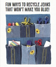Green Ways to Recycle Jeans That Won't Make You Blue! Recycle Jeans, Upcycle, Jean Organization, Bed Pocket, Blue Jean Purses, Sock Storage, Sports Decals, Next Gifts, Ways To Recycle