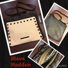 HP Best in Bags party 11/16steve madden bag just in Steve Madden NWT 2 tone crossbody bag. Big front zip pocket outside for keys and cellphone. Soft faux leather.  Steve Madden Bags Crossbody Bags