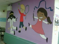 Mural we painted leading into the gym