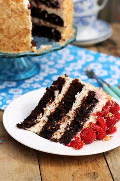 chocolate and coconut cake with raspberries Food Cakes, Tiramisu, Cake Recipes, Raspberry, Coconut, Pie, Cooking Recipes, Chocolate, Birthday