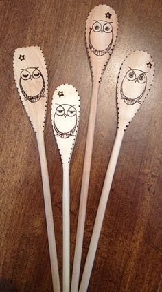 Woodburned spoons owls 3 | Flickr - Photo Sharing!