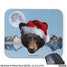 Black Bear Face & Winter Snow-fall Christmas Mousepad