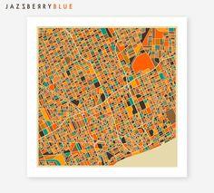 DETROIT Map Giclee Fine Art Print Modern Abstract by JazzberryBlue, $29.00