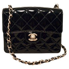 Pre-Owned Chanel Black Patent Leather Mini Classic Flap Shoulder Bag ($3,400) ❤ liked on Polyvore