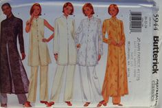 Butterick 5944 Misses'/Misses' Petite Tunic, Duster and Pants Indian Tunic, Pants Pattern, Sewing Patterns, Dusters, Tunics, Vintage, Google Search, Women, Tunic