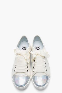 LANVIN | Ivory Leather Holographic Python Captoe Sneakers