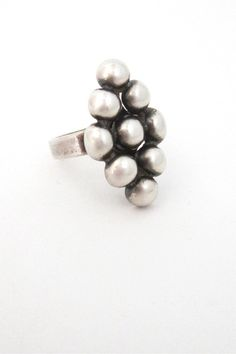 "Erik Granit, Finland - vintage sterling silver modernist ""spheres diamond"" ring, 1971"