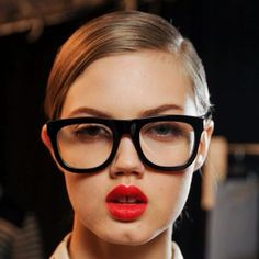 Geek glasses and red lips