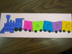 """Name Train via storytimekatie -- """"Originally found on Pinterest, this craft idea comes from Tippytoe Crafts. My volunteers assembled the cars/wheels and engine/wheels. The kids were able to write their names (some with parent's help, of course) and put together their train."""""""