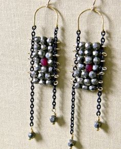 Pyrite and a Ruby Bead Earrings by RelicaDesign on Etsy, $125.00