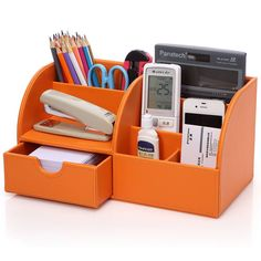 KINGOM™ 7 Storage Compartments Multifunctional PU Leather Office Desk Organizer,Desktop Stationery Storage Box Collection, Business Card/Pen/Pencil/Mobile Phone /Remote Control Holder Desk Supplies Organizer (Orange)