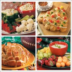 24 Festive Christmas Appetizers You Can Make--A Christmas tree made out of rolls, party cheese bread, honey lime fruit dip and festive vegetable dip