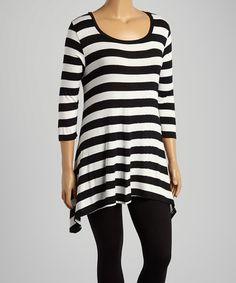 Another great find on #zulily! Black & White Stripe Scoop Neck Top - Plus #zulilyfinds