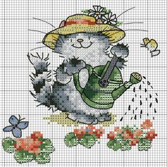 cat watering the flowers Just Cross Stitch, Cross Stitch Art, Cross Stitch Animals, Cross Stitch Designs, Cross Stitch Embroidery, Cross Stitch Patterns, Loom Patterns, Cat Cross Stitches, Cross Stitching