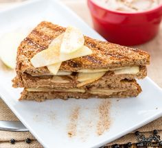 Grilled apple peanut butter sandwich with lots of cinnamon & sugar! A great start to your day! Find the recipe on www.cookwithmanali.com