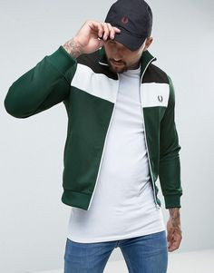 Fred Perry Sports Authentic Color Block Track Jacket in Green - Green