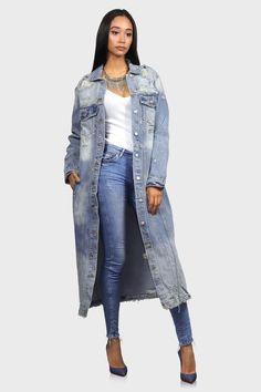 Dripping in Denim - Long Denim Jacket Long Denim Jacket, Jean Jacket Outfits, Blue Jean Jacket, Long Distressed Denim Jacket, Long Jackets, Jackets For Women, Denim Jackets, Jean Jackets, Plus Size Dresses