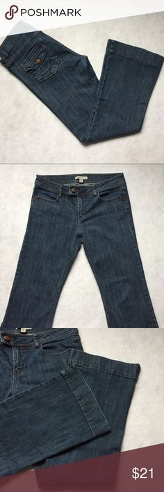 CAbi trouser jeans bootcut flare Style 178R. Waist 16in, inseam 28in (measurements are approx and taken flat). Great condition! Back flap pockets. 99% cotton 1% spandex. Mid rise. Great for casual Friday at the office! CAbi Jeans Boot Cut