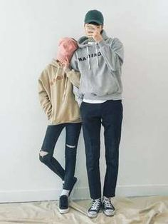 Korean Fashion: Couple Look♥ Great outfit ideas/looks for couples to wear  . Korean Couple Fashion, Korean Fashion Casual, Korean Street Fashion, Korean Outfits, Asian Fashion, Couple Look, Couple Style, Perfect Boyfriend, Ulzzang Couple