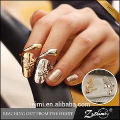 6b3bc4fd657e (Different designs- ask) Unique trendy fashionable statement nail rings-  adjustable - different designs (gold silver plated) plain or dragonfly with  stones ...