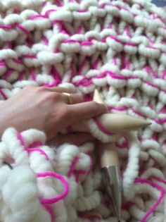 Super chunky knit blanket made with giant knitting needles. Mix Big Loop yarn with favorite yarn from your stash. Yarn and needles available at Loopy Mango.
