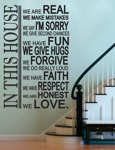 "Vinyl Wall Sticker Decal -In This House-House Rules  - Livingroom - Kitchen-Entry-Rec Room- Photo Wall -Picture Wall 48""H x 23""W. $49.95, via Etsy."