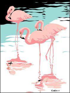 Pink Flamingos tropical 1980s pop art nouveau graphic art retro stylized florida scene print on Etsy, $37.00