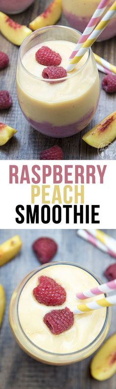 Breakfast smoothies Raspberry Peach Smoothie - This delicious and beautiful smoothie has a layer of creamy raspberry smoothie, topped by a layer of peach smoothie for a perfectly creamy and tasty breakfast or snack. Raspberry Smoothie, Yummy Smoothies, Smoothie Drinks, Breakfast Smoothies, Yummy Drinks, Healthy Drinks, Yummy Food, Yummy Eats, Raspberry Breakfast