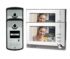 "Yobang Security 7"" LCD Monitor Wired Video Intercom Doorbell System For 2 Units Apartment For Villa Home Wall Clock Camera,"