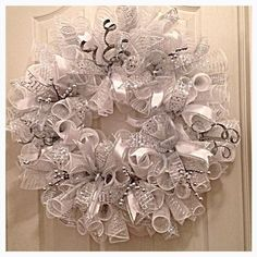 Silver and White Deco Mesh Wreath/ Wedding by CKDazzlingDesign